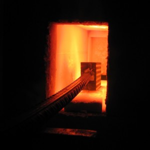 Heating in the gas forge to around 1200 degrees