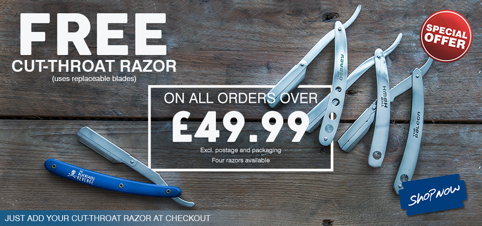 Free cut throat razor on all orders over £49.99