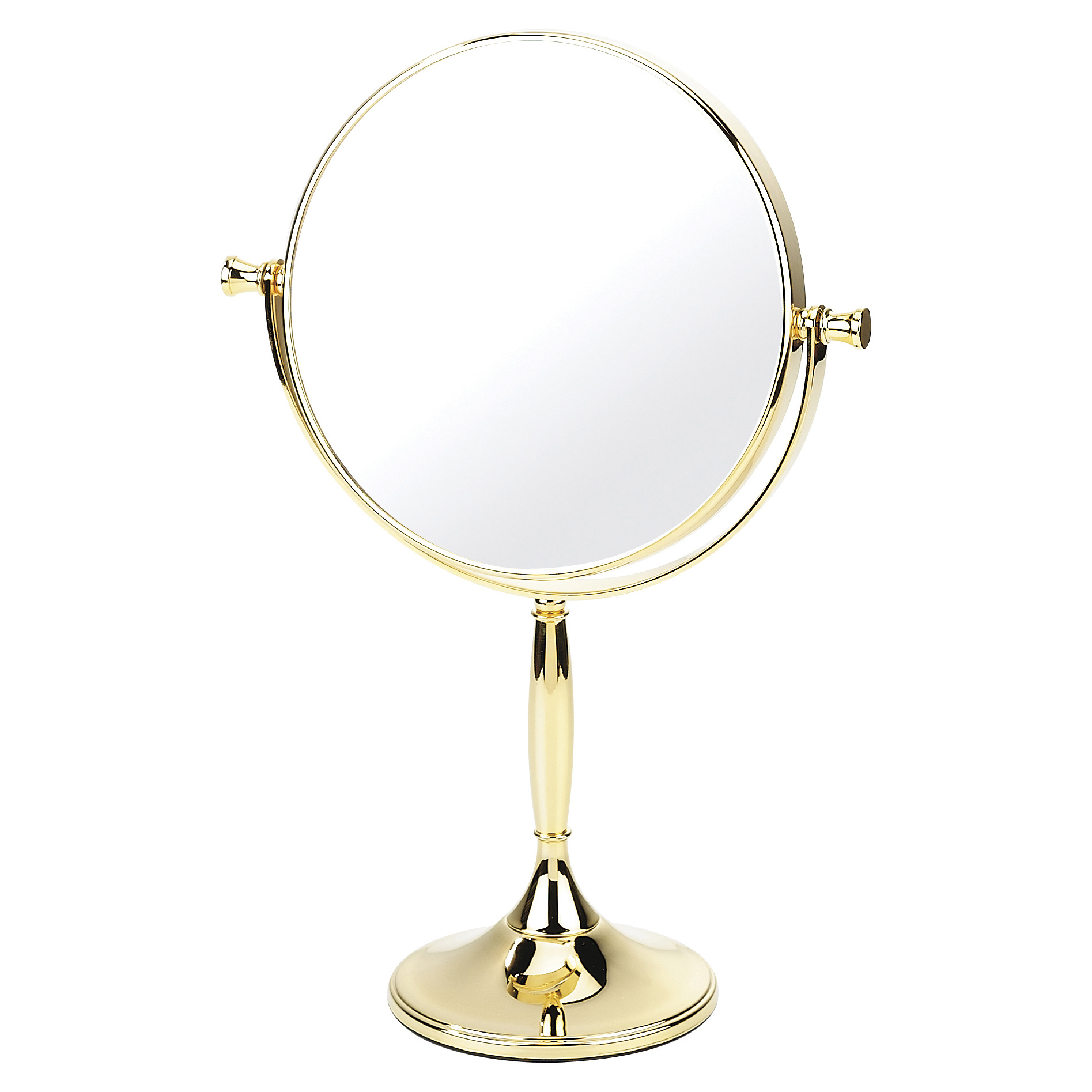 Gold pedestal shaving mirror 15cm x 3 magnification for Shaving mirror