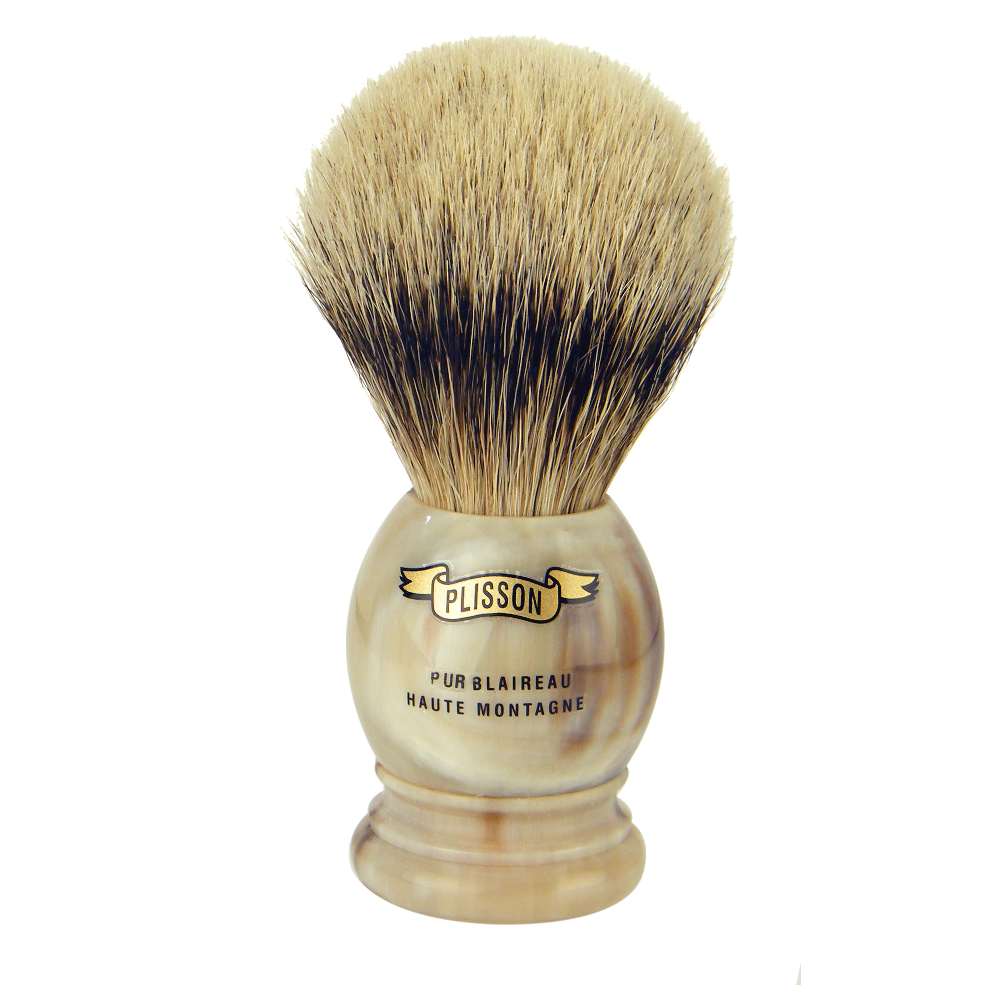 Plisson Horn Handle Pure White High Mountain Badger Brush (Size 12)