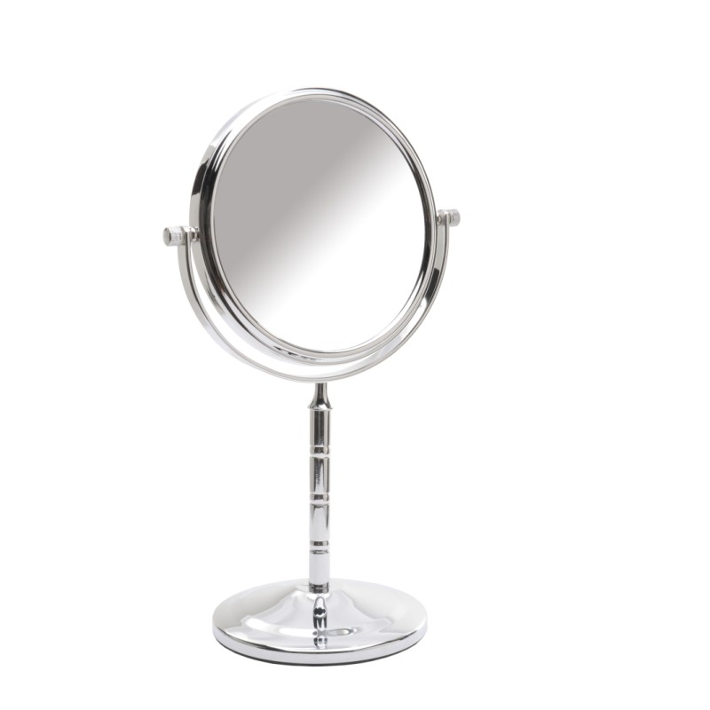 Pedestal shaving mirror chrome 15cm x 5 magnification for Shaving mirror