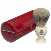 Kent BK2 Pure Grey Badger Shaving Brush (White)