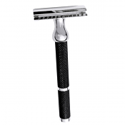 Parker Model 71R Three Piece Safety Razor with Black and Nickel Plated Finish
