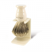 Edwin Jagger Best Badger Brush Medium with Drip Stand (Imitation Ivory)