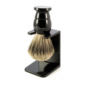 Edwin Jagger Best Badger Brush Medium with Drip Stand (Ebony)
