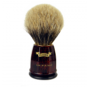 Plisson Burled Walnut Handle European White Badger Brush