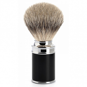 Muhle Black and Chrome Handle Silvertip Badger Brush