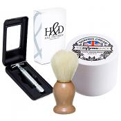 Hill and Drew HDRC42 Three Piece Razor, Sandalwood Shaving Cream and FREE Vegan Synthetic Brush