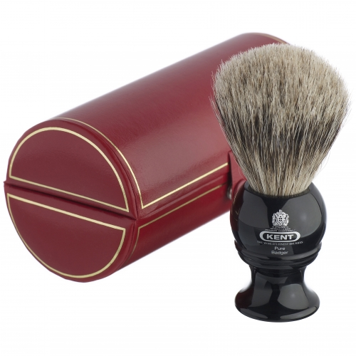 Kent BLK2 Pure Grey Badger Shaving Brush (Black)