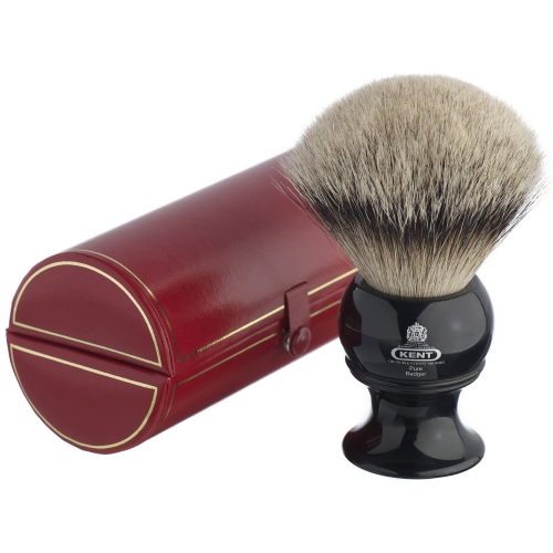Kent BLK12 Silver Tip Badger Shaving Brush (Black)