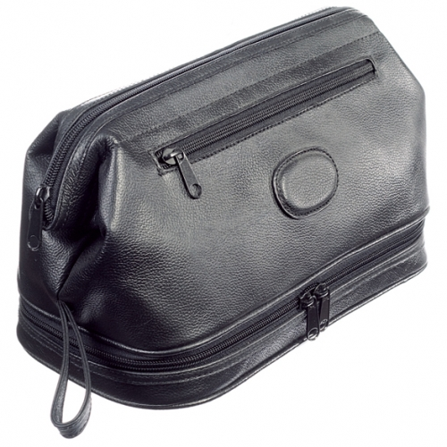 Rimini Black Leather Top Zip Wash Bag (Large)