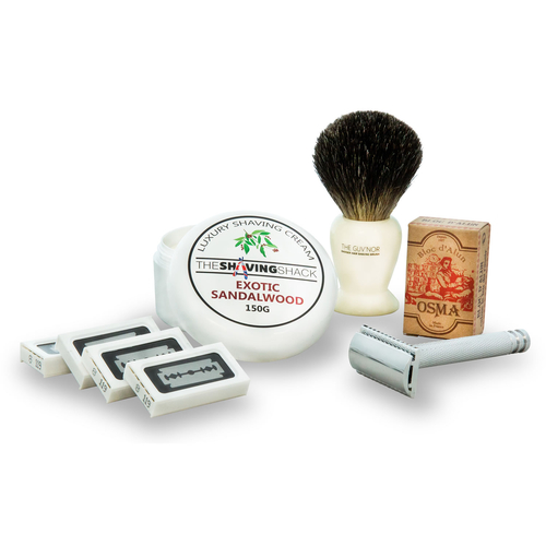 The Drake Double Edge Safety Razor Starter Kit (Pure Badger Brush)