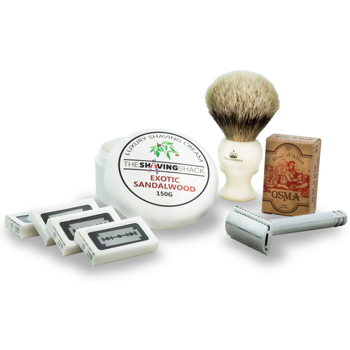 The Drake Double Edge Safety Razor Starter Kit (High Mountain White Silvertip Badger Brush)