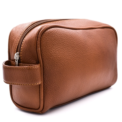 Parker Large Leather Toiletry Bag (Saddle Brown)
