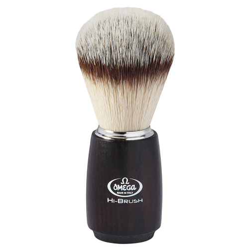 Omega HI-BRUSH Ash Wood Handle Synthetic Shaving Brush 0146712